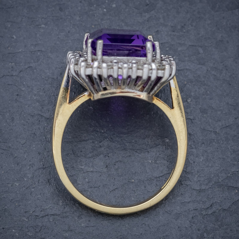 VINTAGE AMETHYST CLUSTER RING 18CT GOLD CIRCA 1950 TOP
