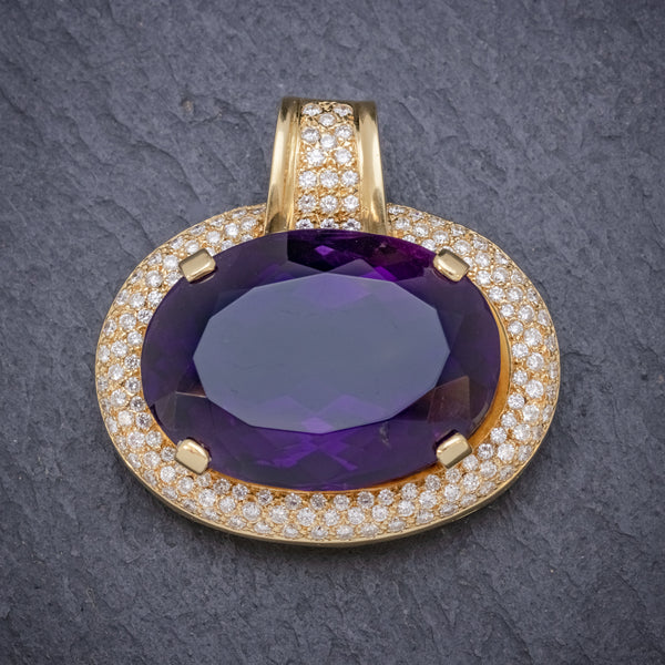VINTAGE AMETHYST PENDANT SOLID 18CT GOLD 65CT AMETHYST CIRCA 1970 FRONT