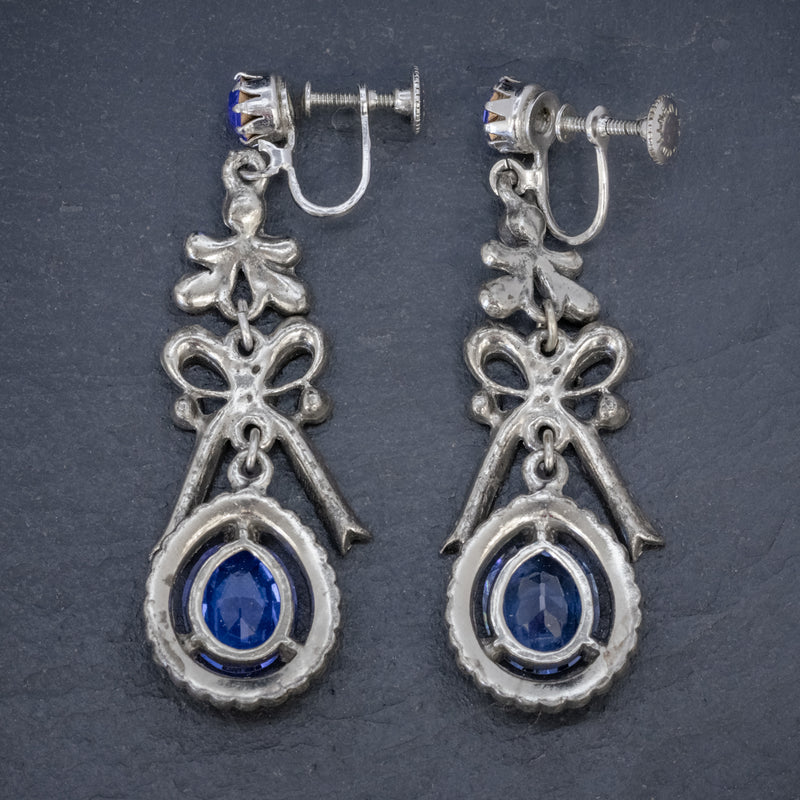 VINTAGE BLUE PASTE DROP EARRINGS CIRCA 1950 BACK