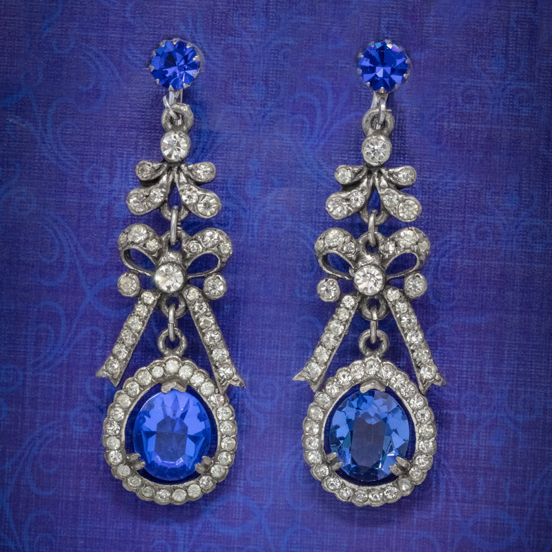 VINTAGE BLUE PASTE DROP EARRINGS CIRCA 1950 COVER