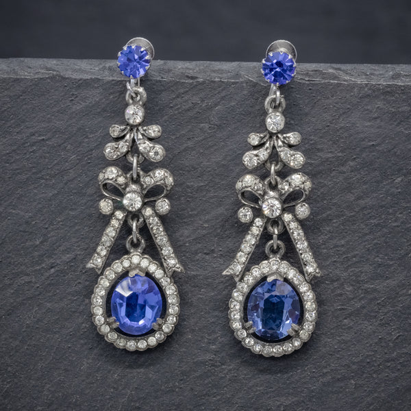VINTAGE BLUE PASTE DROP EARRINGS CIRCA 1950 FRONT