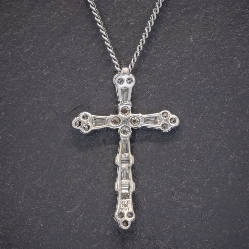 VINTAGE DIAMOND CROSS NECKLACE 18CT WHITE GOLD CHAIN  BACK