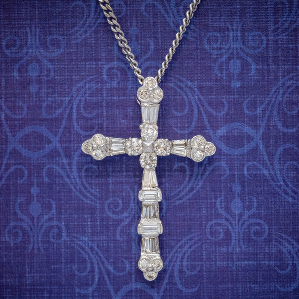 VINTAGE DIAMOND CROSS NECKLACE 18CT WHITE GOLD CHAIN  COVER