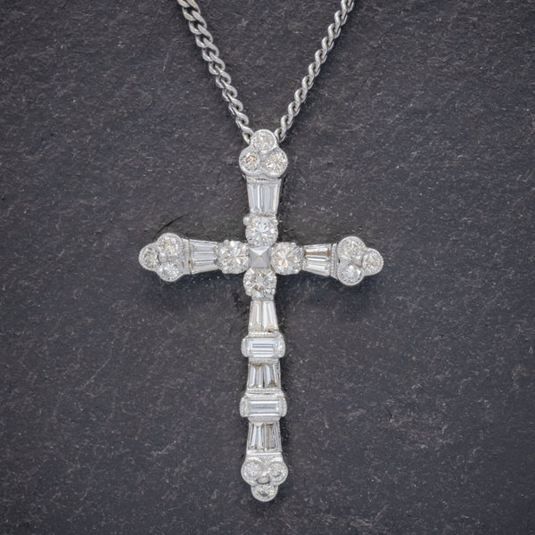 VINTAGE DIAMOND CROSS NECKLACE 18CT WHITE GOLD CHAIN FRONT