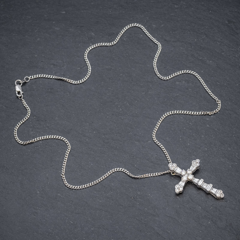 VINTAGE DIAMOND CROSS NECKLACE 18CT WHITE GOLD CHAIN  TOP