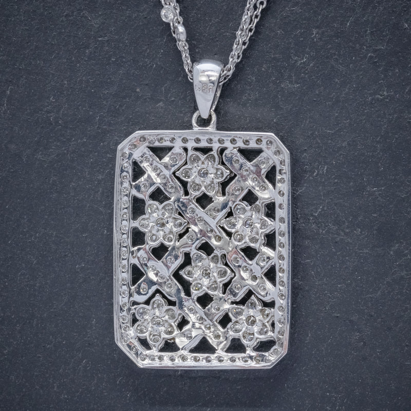 VINTAGE DIAMOND PENDANT NECKLACE 18CT WHITE GOLD CHAIN 8CT OF DIAMOND CIRCA 1970 BACK