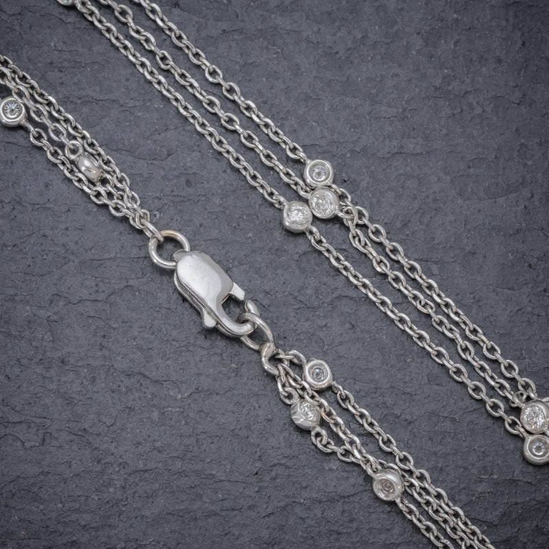 VINTAGE DIAMOND PENDANT NECKLACE 18CT WHITE GOLD CHAIN 8CT OF DIAMOND CIRCA 1970 CHAIN