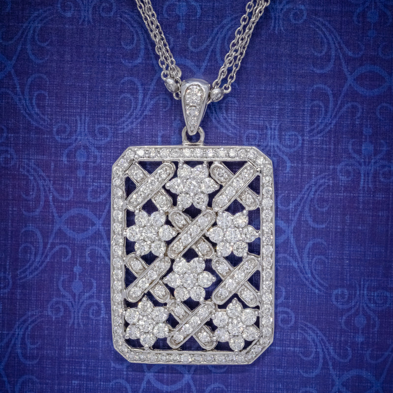 VINTAGE DIAMOND PENDANT NECKLACE 18CT WHITE GOLD CHAIN 8CT OF DIAMOND CIRCA 1970 COVER