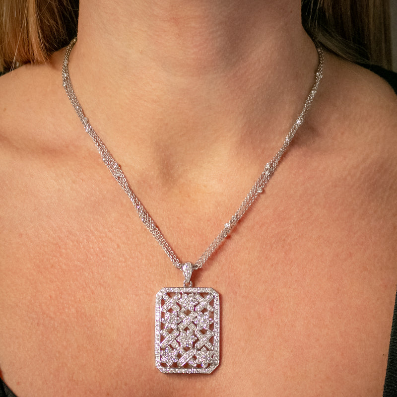 VINTAGE DIAMOND PENDANT NECKLACE 18CT WHITE GOLD CHAIN 8CT OF DIAMOND CIRCA 1970 worn