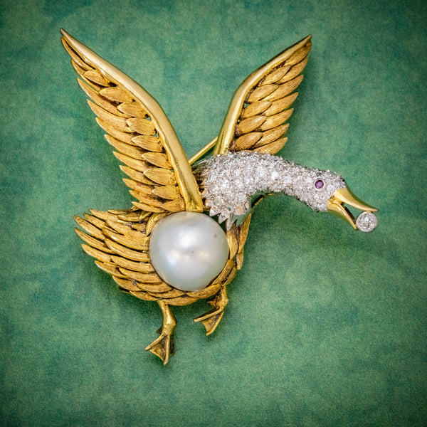 Vintage Diamond Swan Brooch 18ct Gold 2.50ct Diamond Pearl Egg Circa 1950  cover