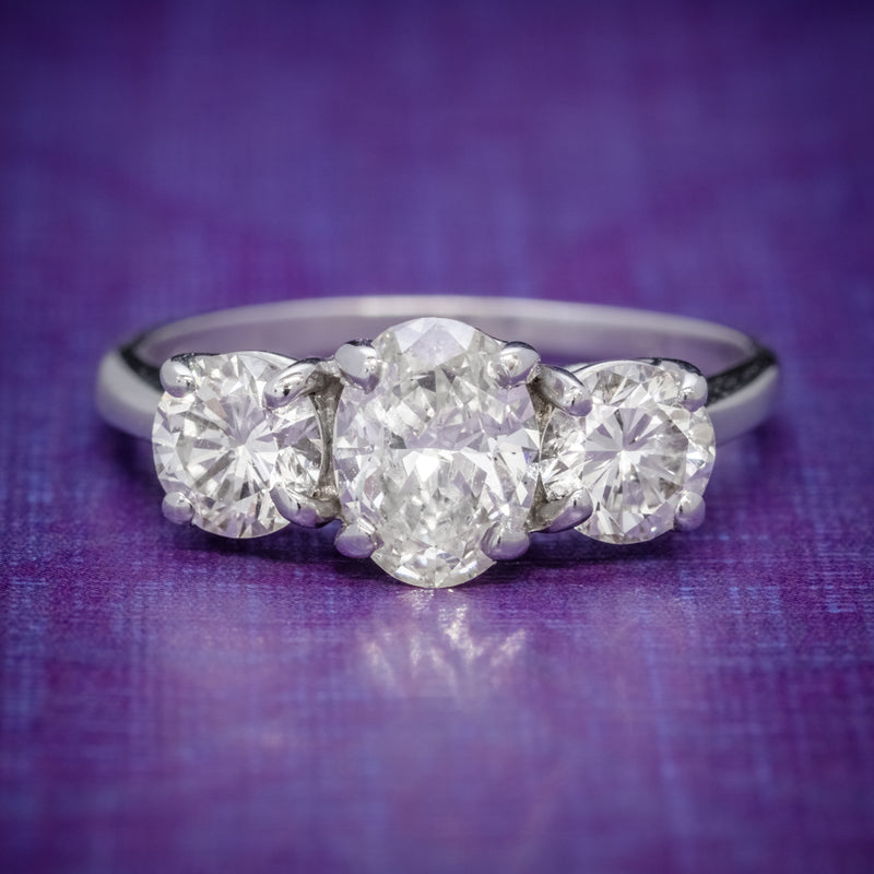 VINTAGE DIAMOND TRILOGY RING 14CT WHITE GOLD 2CT OF DIAMOND COVER