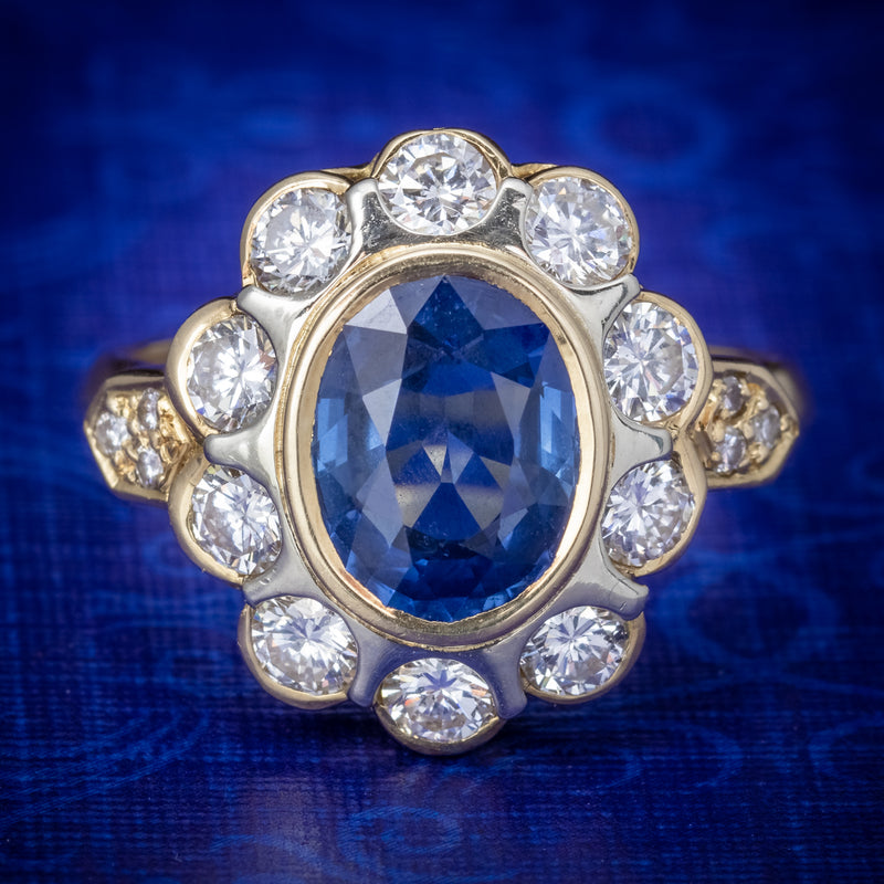 Vintage French Sapphire Diamond Cluster Ring 18ct Gold 3.80ct Sapphire COVER