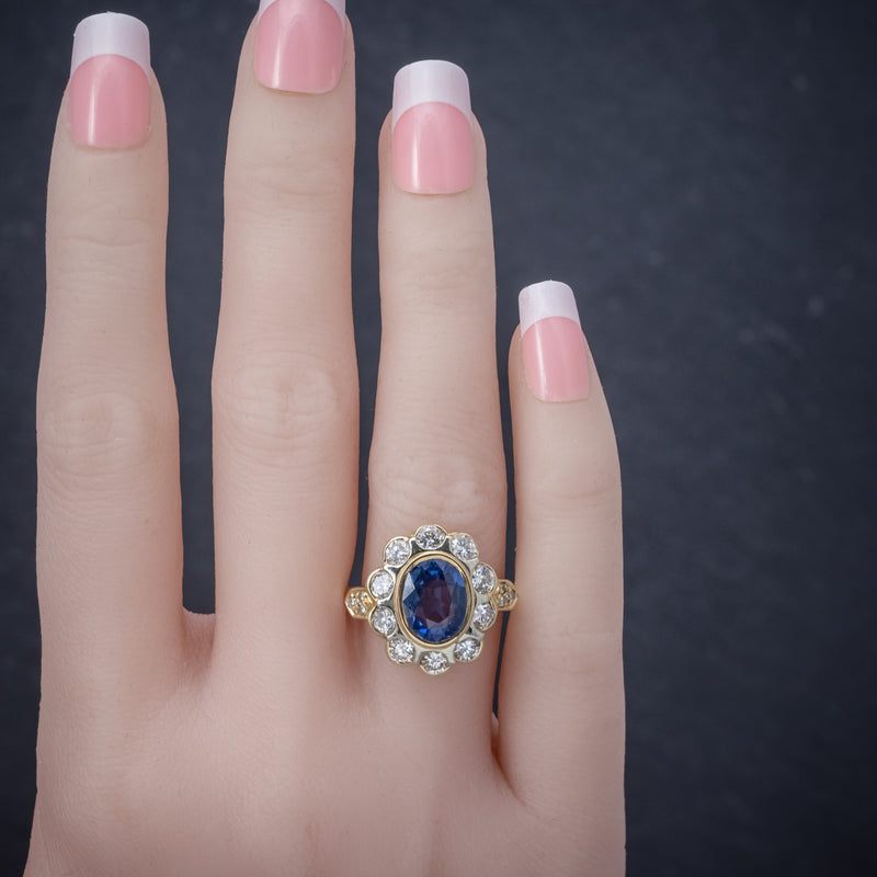 Vintage French Sapphire Diamond Cluster Ring 18ct Gold 3.80ct Sapphire
