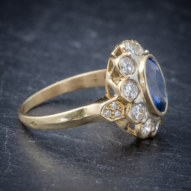 Vintage French Sapphire Diamond Cluster Ring 18ct Gold 3.80ct Sapphire SIDE 2
