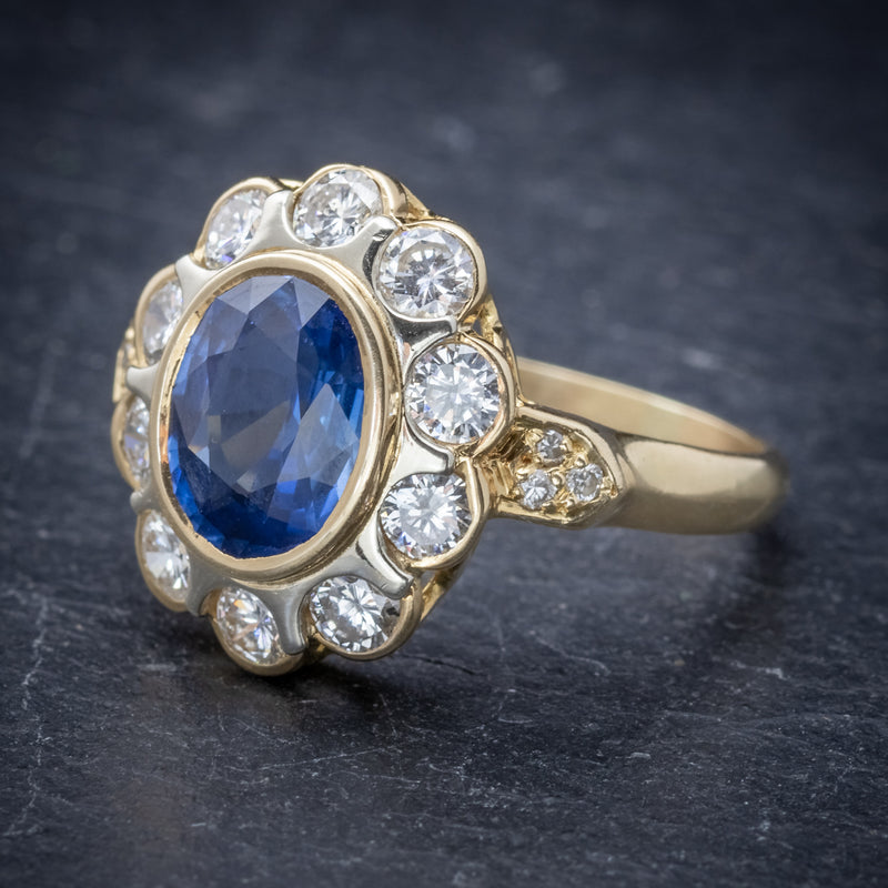 Vintage French Sapphire Diamond Cluster Ring 18ct Gold 3.80ct Sapphire SIDE