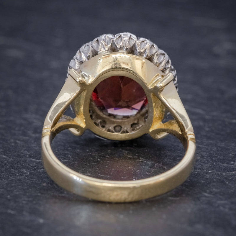 Vintage Garnet Diamond Cluster Ring 18ct Gold 5ct Garnet BACK