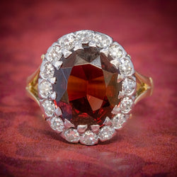 Vintage Garnet Diamond Cluster Ring 18ct Gold 5ct Garnet COVER