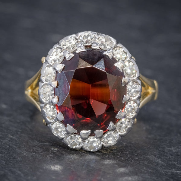 Vintage Garnet Diamond Cluster Ring 18ct Gold 5ct Garnet FRONT