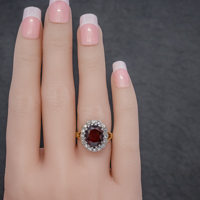 Vintage Garnet Diamond Cluster Ring 18ct Gold 5ct Garnet HAND