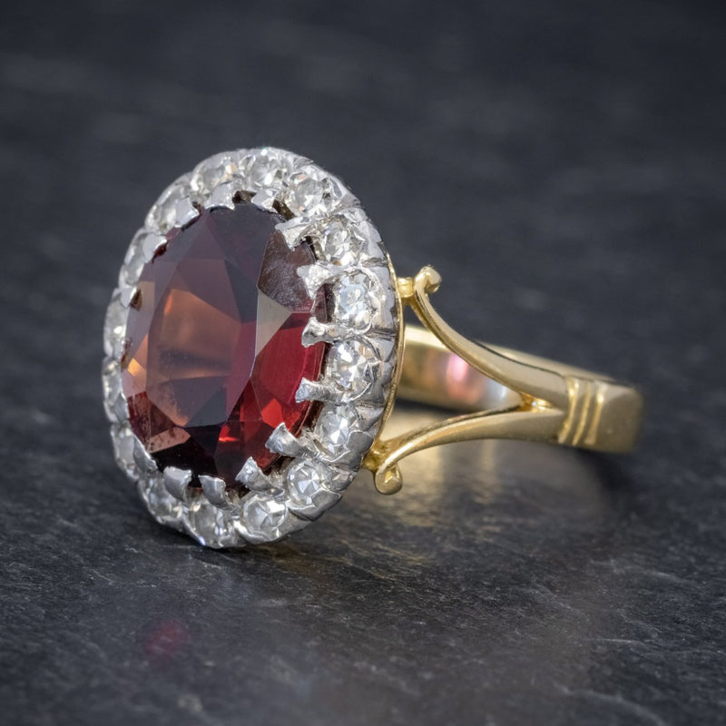 Vintage Garnet Diamond Cluster Ring 18ct Gold 5ct Garnet SIDE