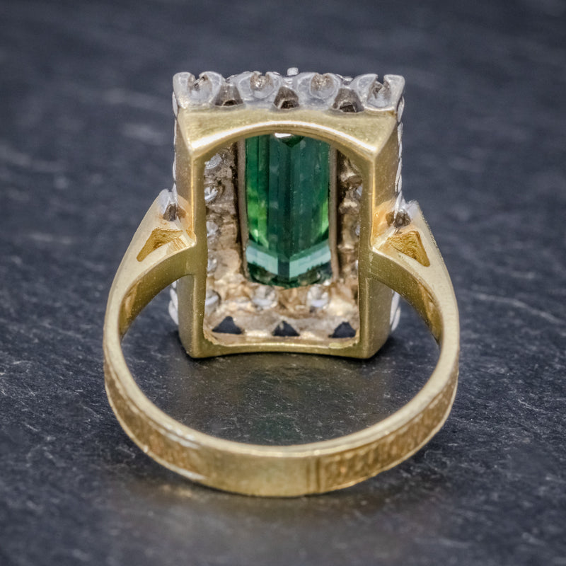 VINTAGE GREEN TOURMALINE DIAMOND RING 18CT GOLD DATED 1975 BACK