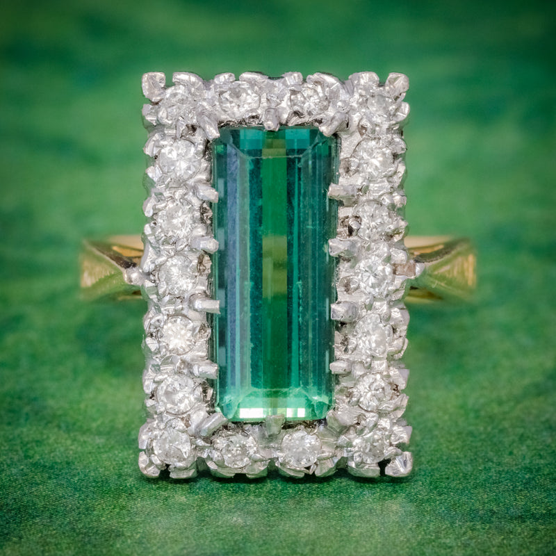 VINTAGE GREEN TOURMALINE DIAMOND RING 18CT GOLD DATED 1975 COVER