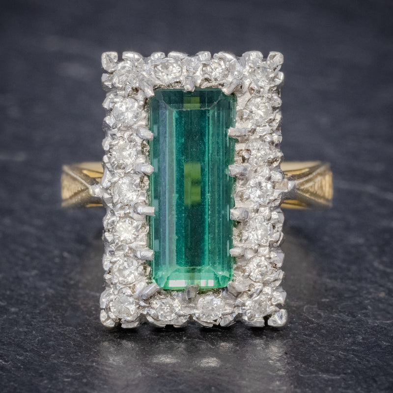 VINTAGE GREEN TOURMALINE DIAMOND RING 18CT GOLD DATED 1975 FRONT