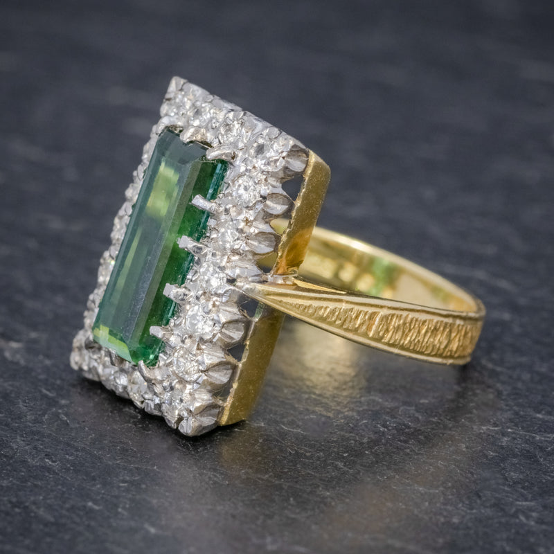 VINTAGE GREEN TOURMALINE DIAMOND RING 18CT GOLD DATED 1975 SIDE