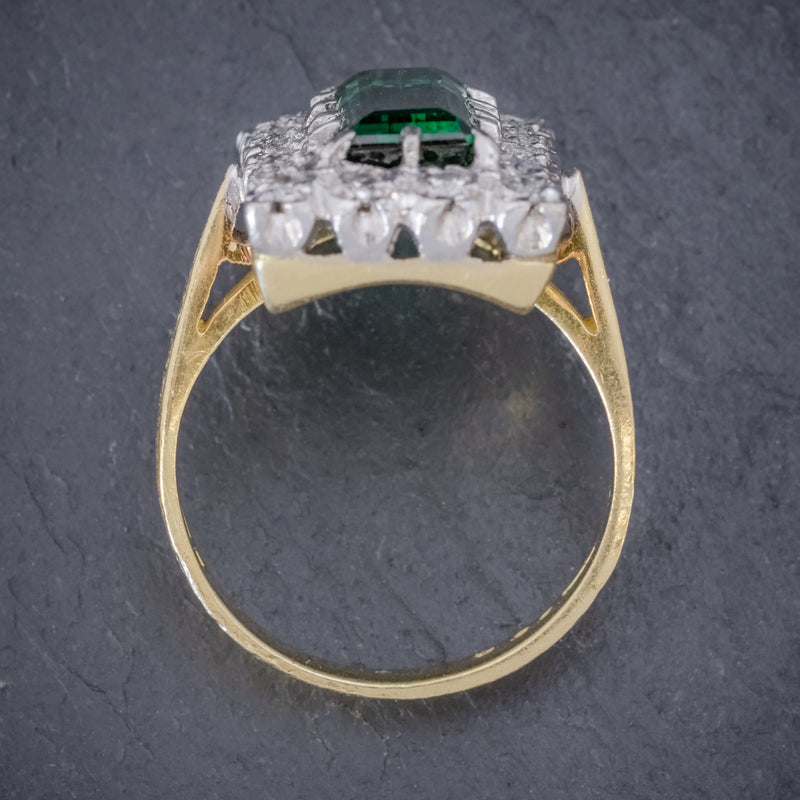 VINTAGE GREEN TOURMALINE DIAMOND RING 18CT GOLD DATED 1975 TOP