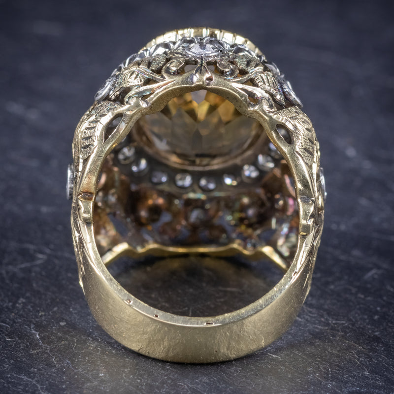 Vintage Large Citrine Ring 9ct Gold Ornate Gallery Circa 1960 back