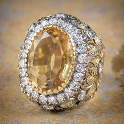 Vintage Large Citrine Ring 9ct Gold Ornate Gallery Circa 1960 cover