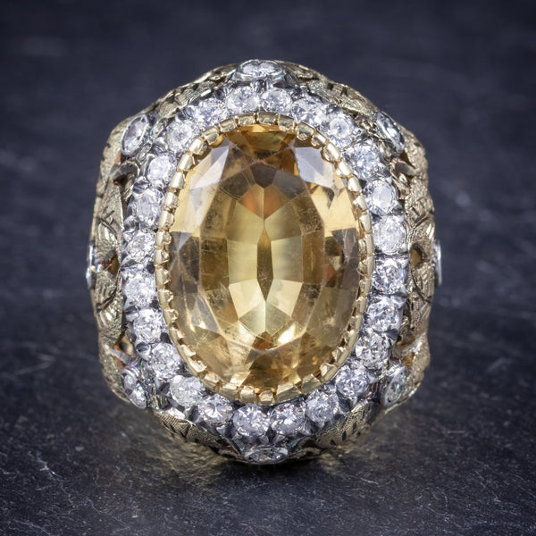 Vintage Large Citrine Ring 9ct Gold Ornate Gallery Circa 1960 front