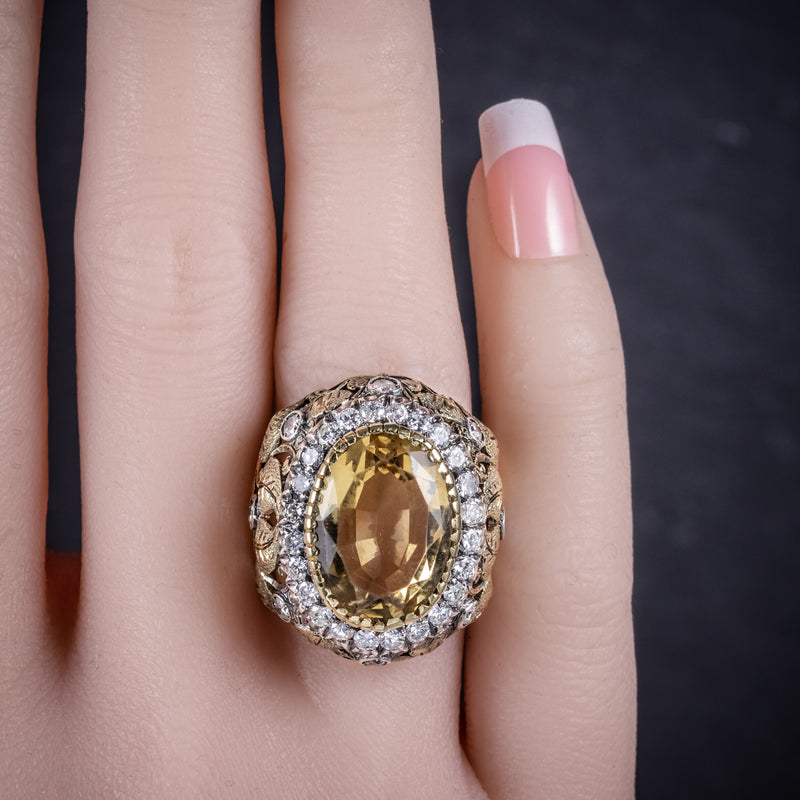 Vintage Large Citrine Ring 9ct Gold Ornate Gallery Circa 1960 hand