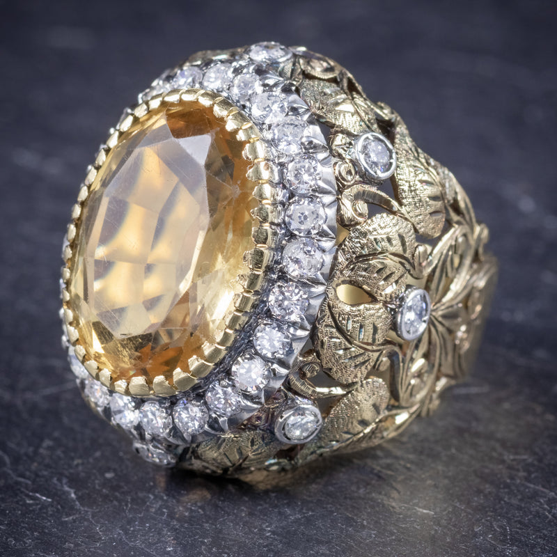 Vintage Large Citrine Ring 9ct Gold Ornate Gallery Circa 1960 side