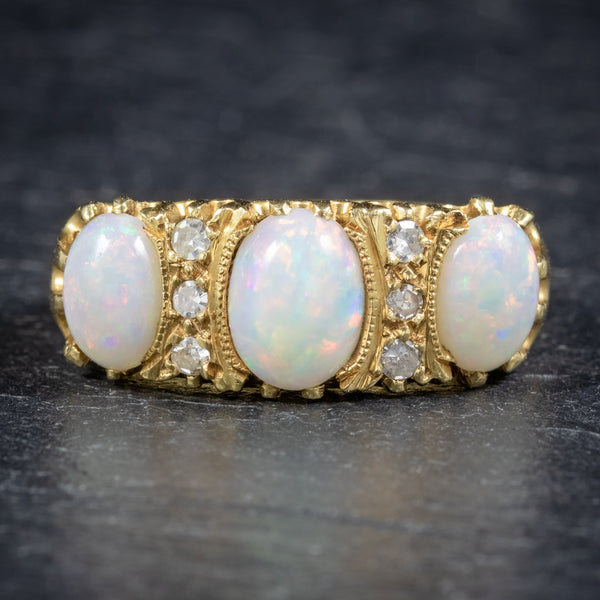 VINTAGE NATURAL OPAL TRILOGY RING 18CT GOLD DATED LONDON 1963 front