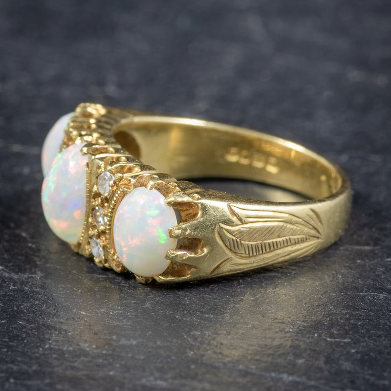VINTAGE NATURAL OPAL TRILOGY RING 18CT GOLD DATED LONDON 1963 side