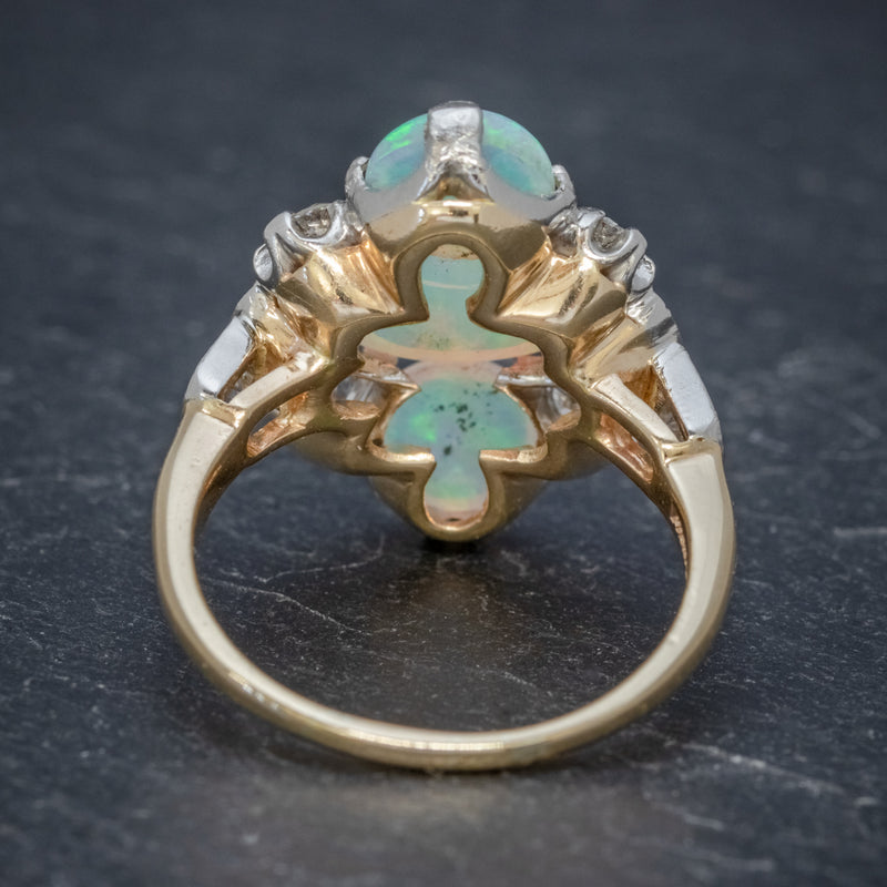 VINTAGE OPAL CLUSTER RING 14CT GOLD PLATINUM 5CT OPAL CIRCA 1930 BACK