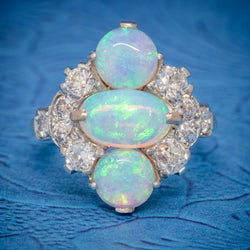VINTAGE OPAL CLUSTER RING 14CT GOLD PLATINUM 5CT OPAL CIRCA 1930 COVER