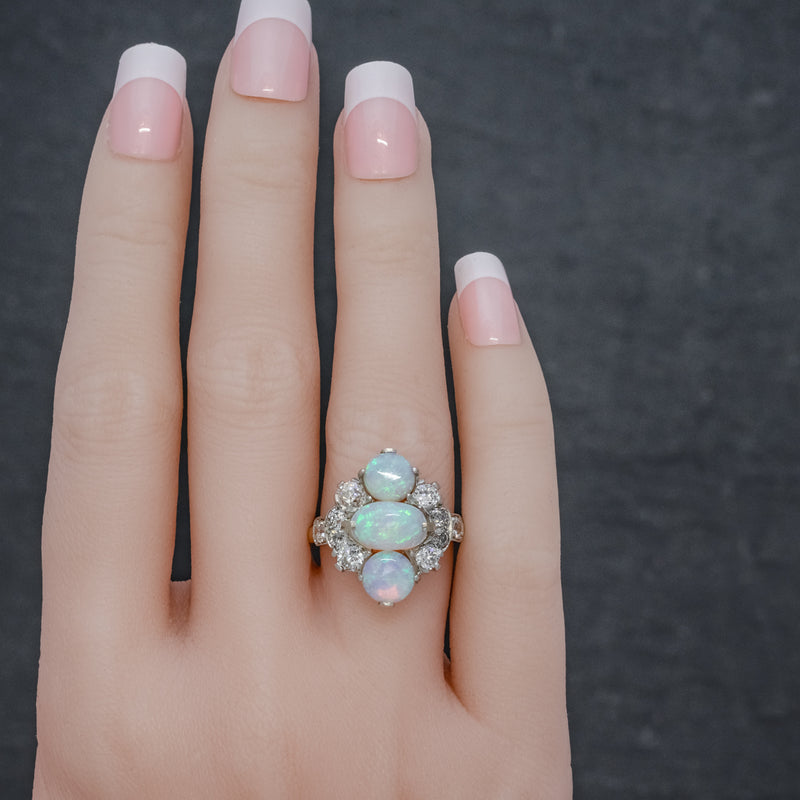 VINTAGE OPAL CLUSTER RING 14CT GOLD PLATINUM 5CT OPAL CIRCA 1930 HAND