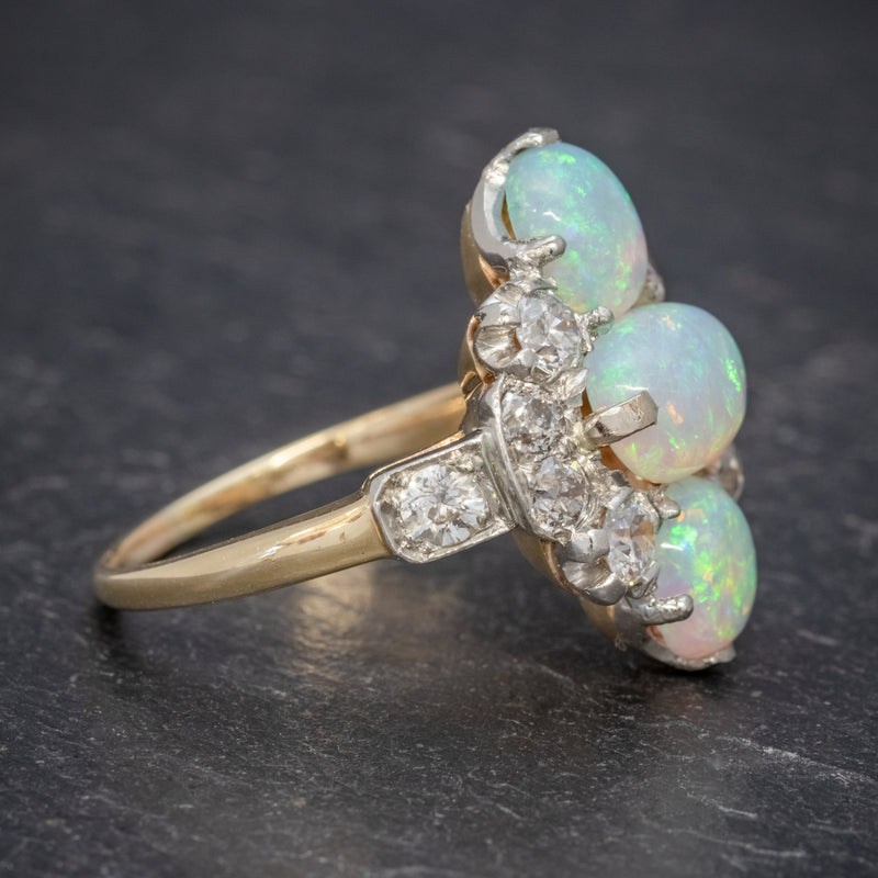 VINTAGE OPAL CLUSTER RING 14CT GOLD PLATINUM 5CT OPAL CIRCA 1930 SIDE2