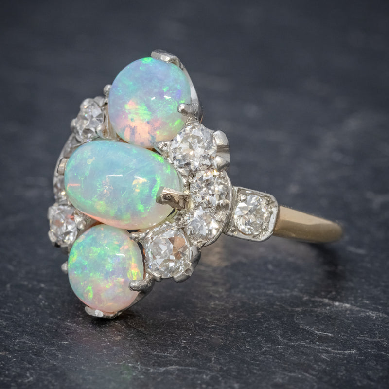 VINTAGE OPAL CLUSTER RING 14CT GOLD PLATINUM 5CT OPAL CIRCA 1930 SIDE