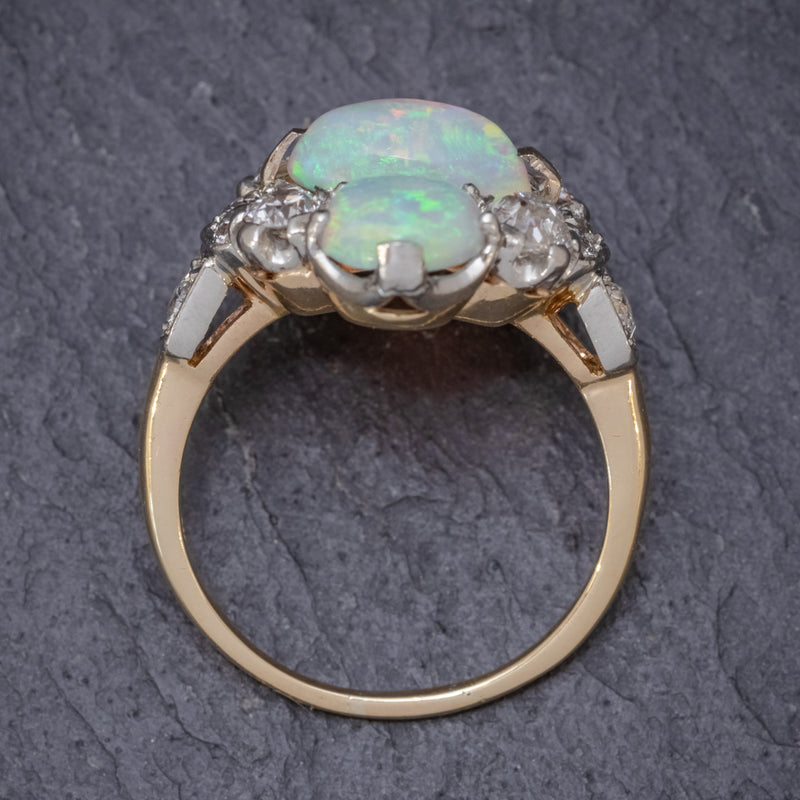 VINTAGE OPAL CLUSTER RING 14CT GOLD PLATINUM 5CT OPAL CIRCA 1930 TOP
