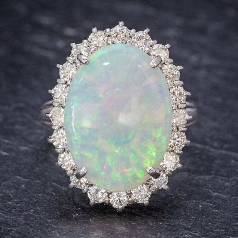 VINTAGE OPAL DIAMOND CLUSTER RING PLATINUM 10CT OPAL  FRONT