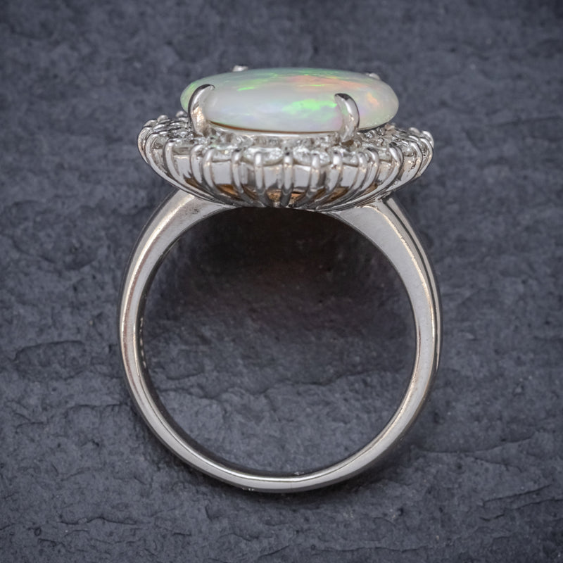 VINTAGE OPAL DIAMOND CLUSTER RING PLATINUM 10CT OPAL  TOP