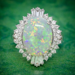 VINTAGE OPAL DIAMOND CLUSTER RING PLATINUM 3.47CT OPAL COVER
