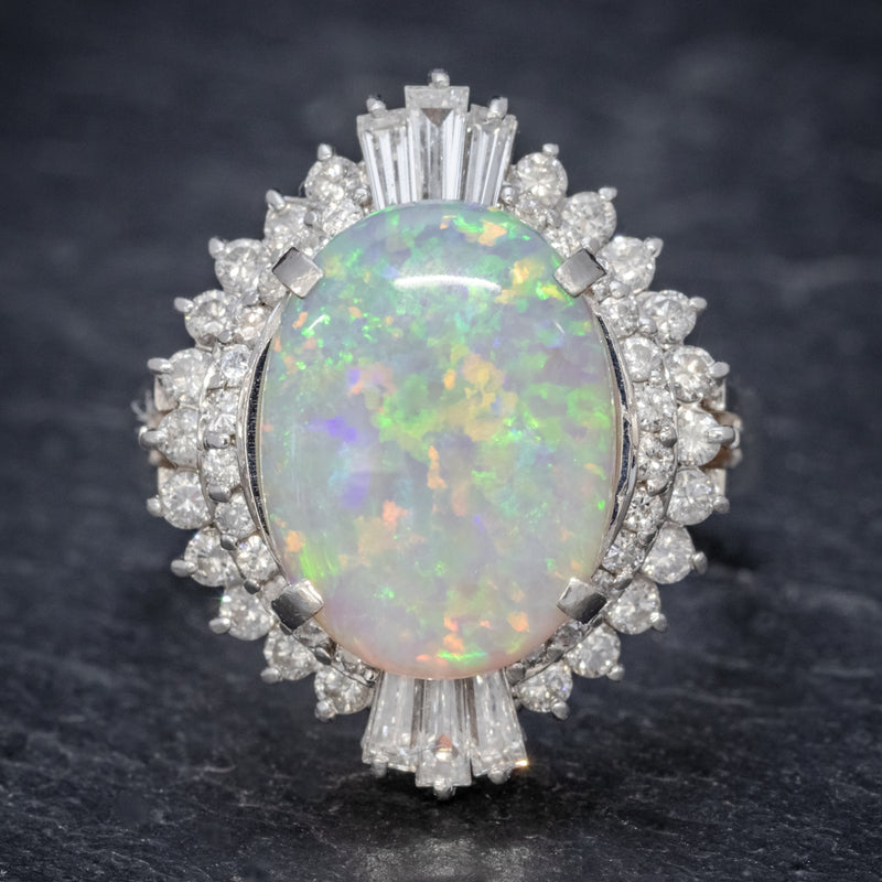 VINTAGE OPAL DIAMOND CLUSTER RING PLATINUM 3.47CT OPAL FRONT