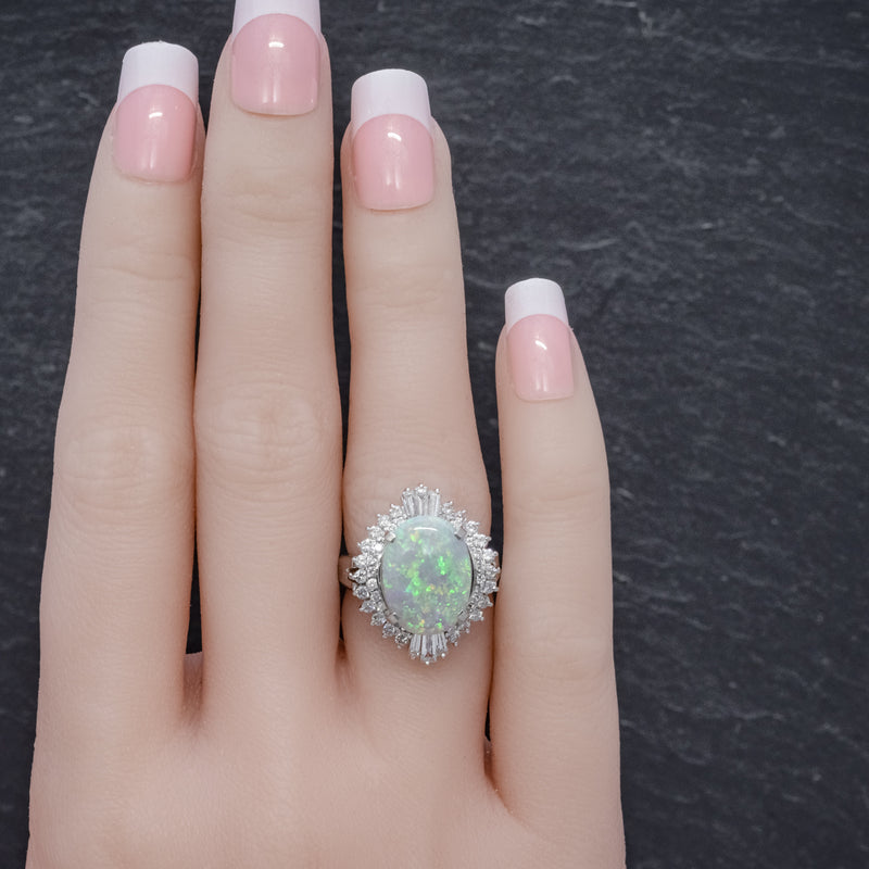 VINTAGE OPAL DIAMOND CLUSTER RING PLATINUM 3.47CT OPAL HAND