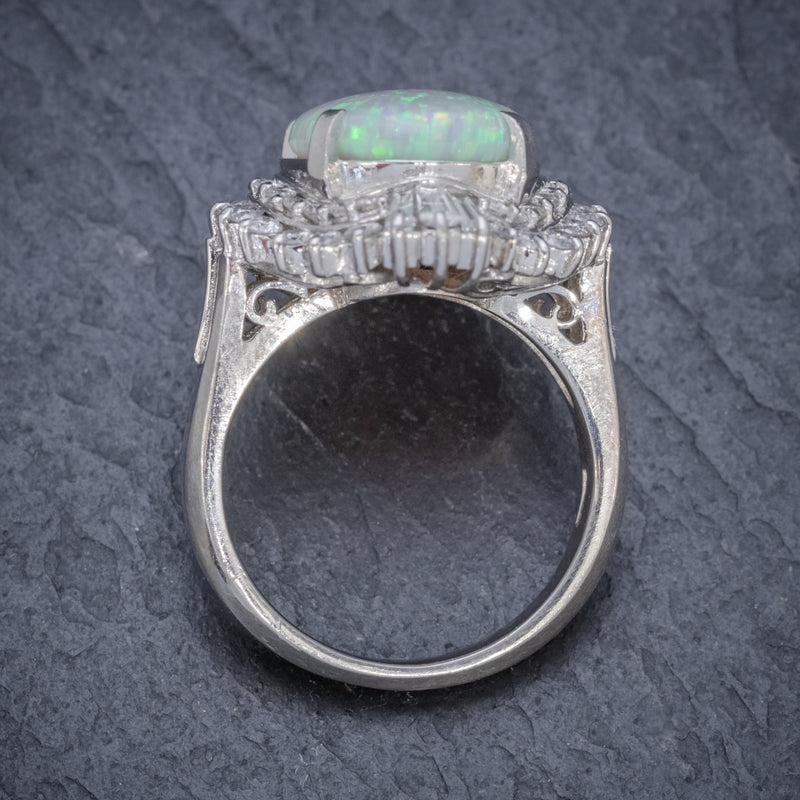 VINTAGE OPAL DIAMOND CLUSTER RING PLATINUM 3.47CT OPAL TOP