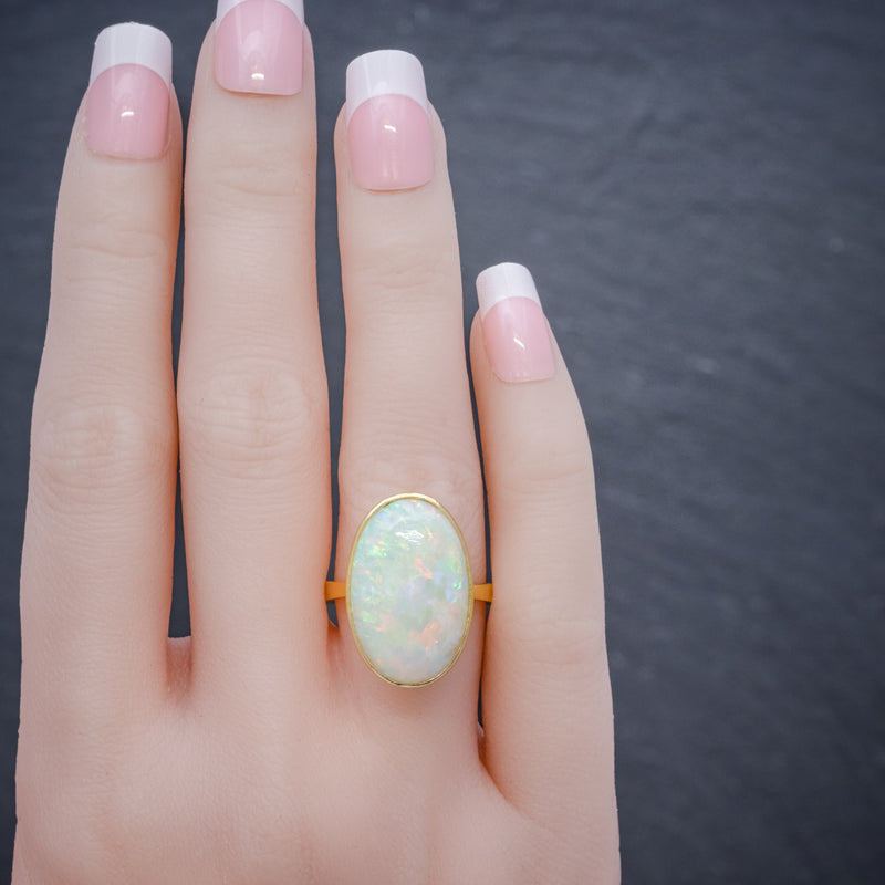 VINTAGE OPAL RING 14ct GOLD NATURAL 14CT OPAL CIRCA 1940 hand