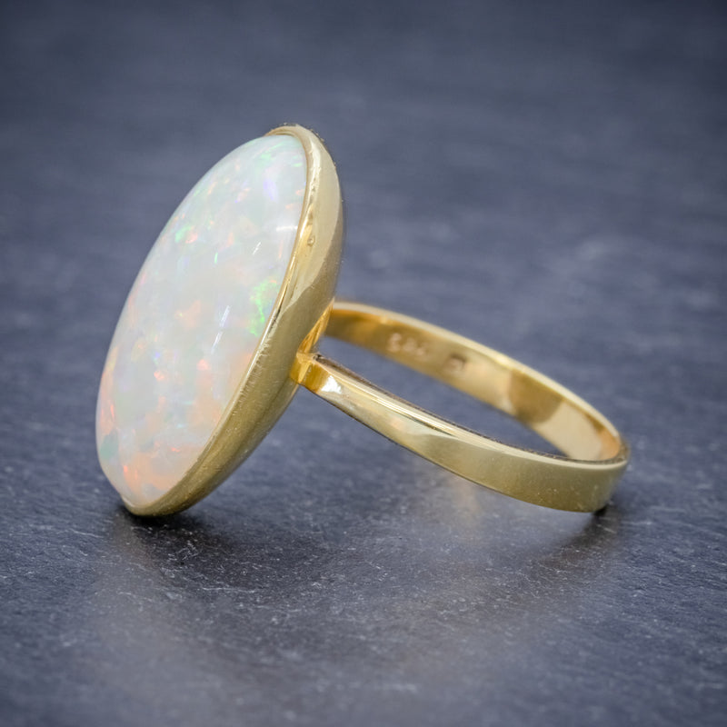 VINTAGE OPAL RING 14ct GOLD NATURAL 14CT OPAL CIRCA 1940 side